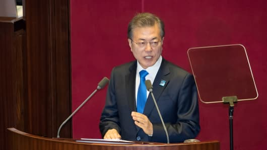 Moon Jae-in, South Korea's president, speaks at the National Assembly in Seoul, South Korea, on Wednesday, Nov. 1, 2017.