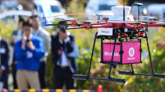 One of Rakuten's delivery drones in action.
