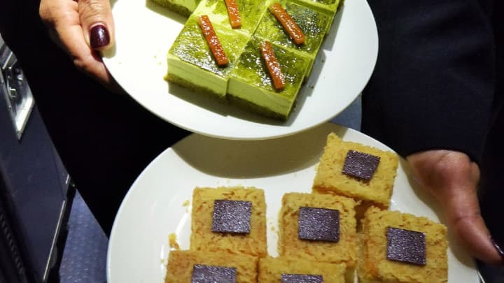 Asian sweets are a featured menu on United's new flight between Los Angeles and Singapore.