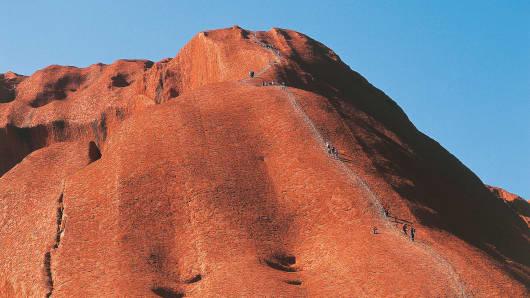 Climbers seen on Uluru.