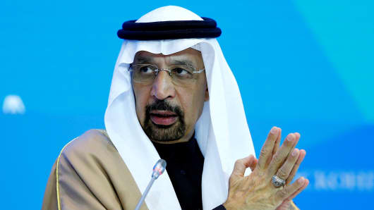 Minister of Energy, Industry and Mineral Resources of the Kingdom of Saudi Arabia, Khalid A. Al-Falih gestures as he speaks during a panel on October 5, 2017.