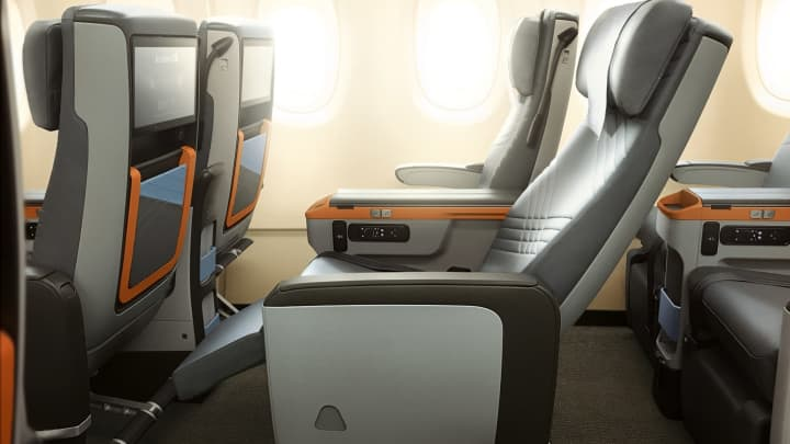Premium Economy class on Singapore Airlines.