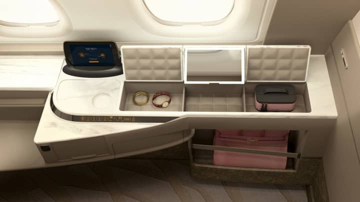 Inside a Suites class cabin on Singapore Airlines.
