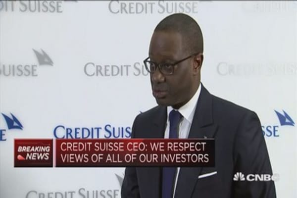 We respect views of all our investors, Credit Suisse CEO says