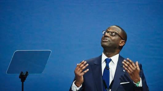 Credit Suisse CEO Tidjane Thiam delivers a speech during the annual shareholders' meeting of the Swiss banking group on April 28, 2017 in Zurich.