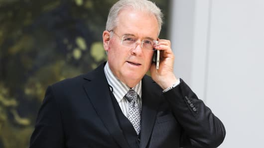 Robert Mercer speaks on the phone during the 12th International Conference on Climate Change hosted by The Heartland Institute on March 23, 2017 in Washington, D.C.