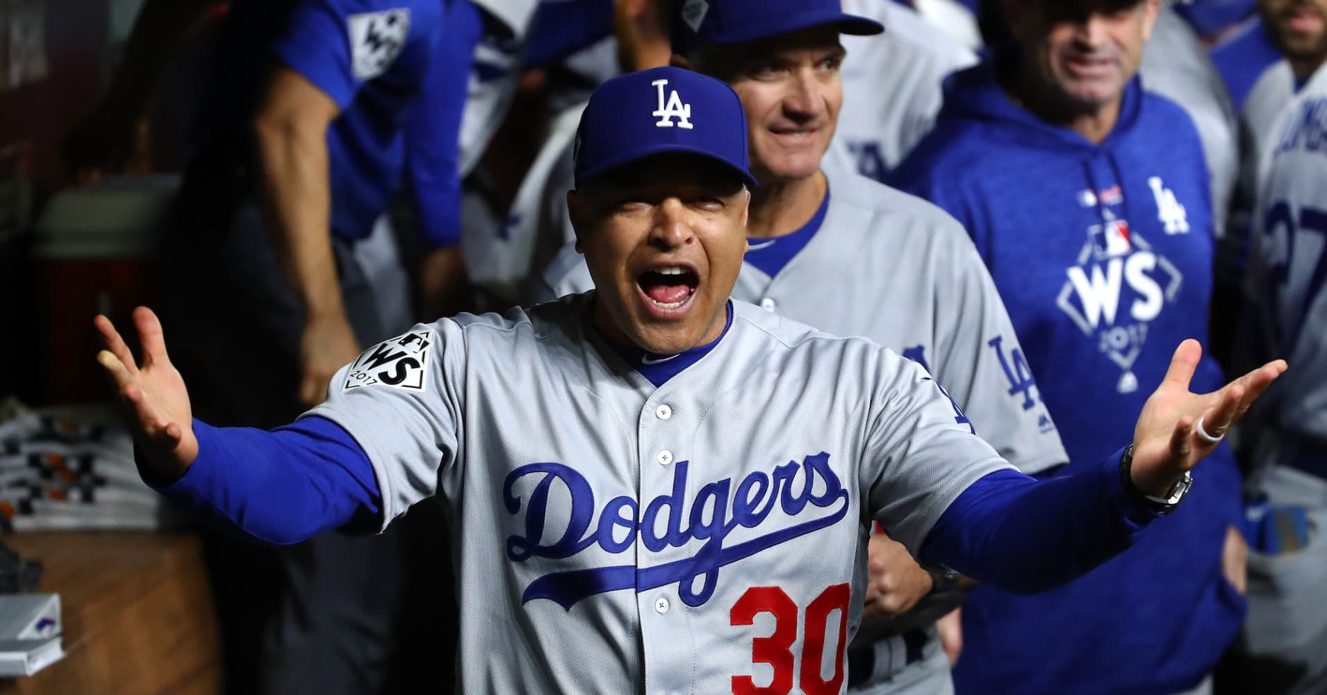Manager Dave Roberts #30 of the Los Angeles Dodgers.