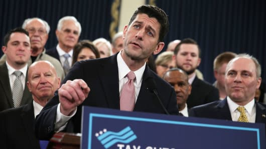 Speaker of the House Rep. Paul Ryan (R-WI) speaks as Chairman of House Ways and Means Committee Rep. Kevin Brady (R-TX) (L) and House Majority Whip Rep Steve Scalise (R-LA) (R) listen during a news conference on the tax reform legislation November 2, 2017 on Capitol Hill in Washington, DC.