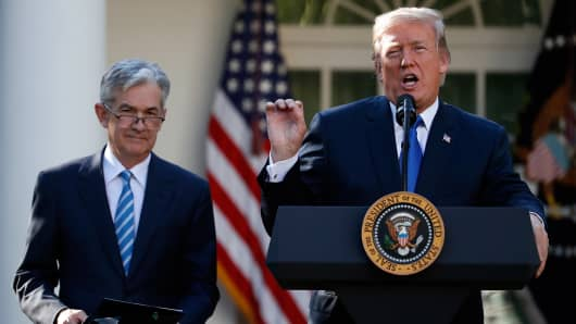 President Donald Trump announces Federal Reserve board member Jerome Powell as his nominee for the next chair of the Federal Reserve in the Rose Garden of the White House in Washington, Thursday, Nov. 2, 2017.