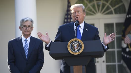President Donald Trump announces his nominee for Chairman of the Federal Reserve, Jerome Powell (L), in the Rose Garden of the White House in Washington, DC, November 2, 2017.