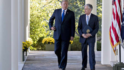 President Donald Trump, left, and Jerome Powell, governor of the U.S. Federal Reserve and Trump's nominee for chairman of the Federal Reserve, walk to a nomination announcement in the Rose Garden of the White House in Washington, D.C., U.S., on Thursday, Nov. 2, 2017.