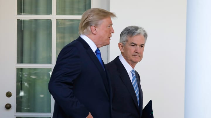 President Donald Trump, left, and Jerome Powell, the new chairman of the Federal Reserve on Thursday, Nov. 2, 2017.