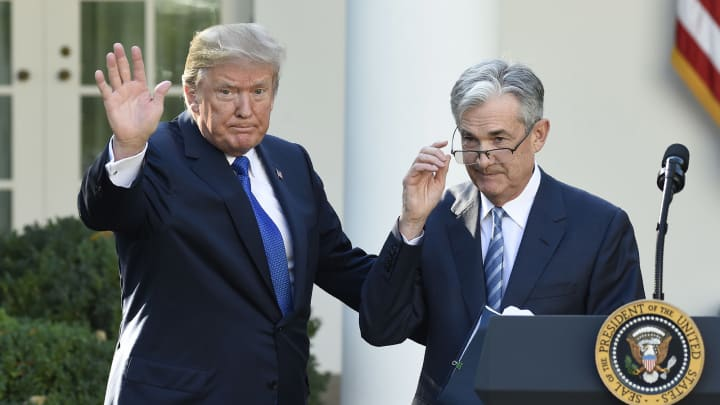 President Donald Trump signals the end of ceremony after announcing Jerome Powell as nominee for Chairman of the Federal Reserve in the Rose Garden of the White House in Washington, DC, November 2, 2017.