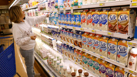 Containers of Silk soy milk are displayed on a shelf in San Rafael, California.
