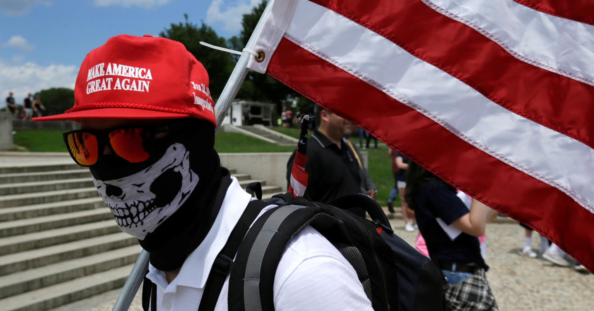 A masked demonstrator in Washington, June 25, 2017.