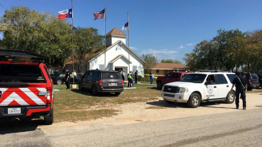 The area around a site of a mass shooting is taped out in Sutherland Springs, Texas, U.S., November 5, 2017