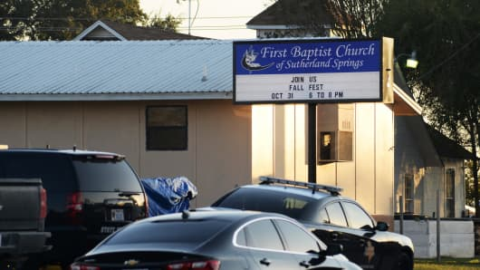 First responders are at the shooting scene at the First Baptist Church in Sutherland Springs, Texas, U.S., November 5, 2017.
