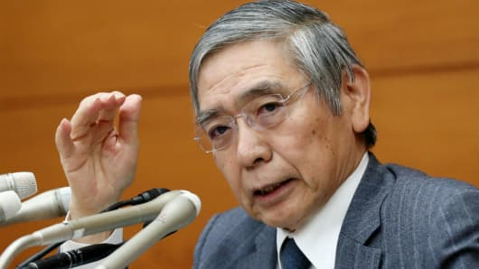 Bank of Japan Governor Haruhiko Kuroda at a press conference at the BOJ headquarters in Tokyo on October 31, 2017.