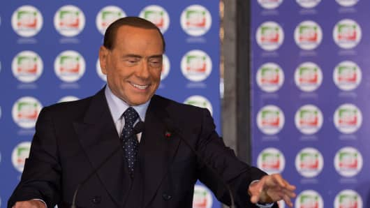 Former Prime Minister and president of Italian right-wing party Forza Italia, Silvio Berlusconi, speaks during a convention of his party on October 14, 2017 at Ischia.