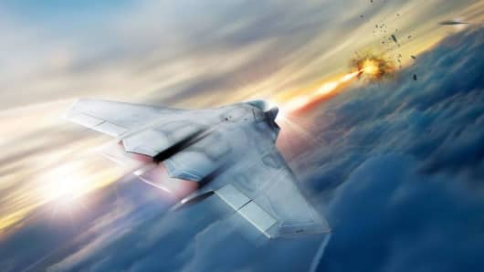 Rendering showing how high-energy lasers on fighter jets could one day be a lethal weapon that augments existing kinetic solutions used by the U.S. military.