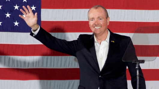 Democratic candidate Phil Murphy, who is running against Republican Lt. Gov. Kim Guadagno for the governor of New Jersey, speaks at a rally on October 19, 2017 in Newark, New Jersey.