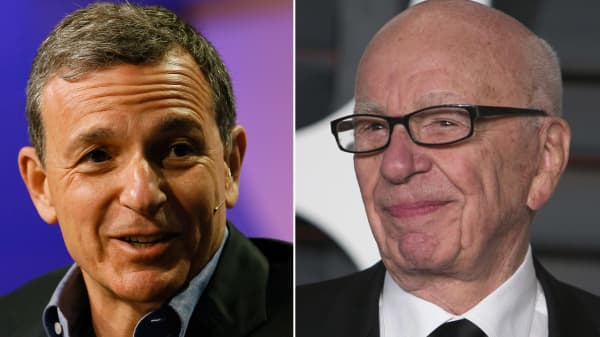 Bob Iger (L), CEO of Walt Disney Co. and Rupert Murdoch, Chairman and CEO of News Corp.