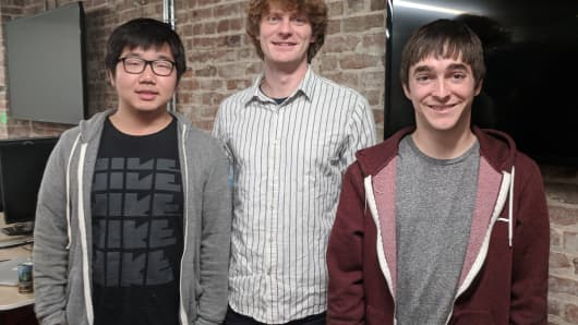 From left, Salesforce intern Jiatao Gu, chief scientist Richard Socher and research scientist James Bradbury.