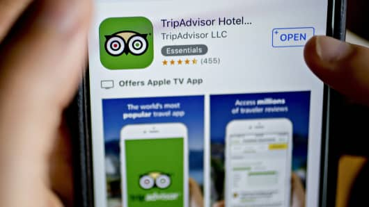 The TripAdvisor Inc. application is seen in the App Store on an Apple Inc. iPhone.