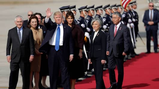 U.S. President Donald Trump arrives in South Korea as part of his 12-day Asian tour.