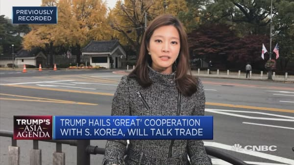 South Koreans protest amid Trump visit