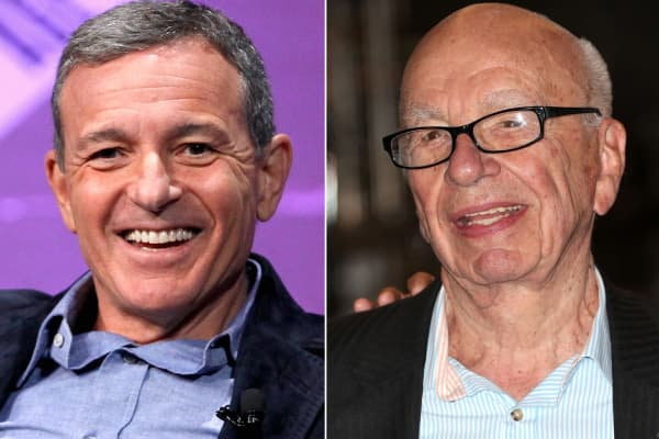 Bob Iger (R), CEO of Walt Disney Co. and Rupert Murdoch, Chairman and CEO of News Corp.