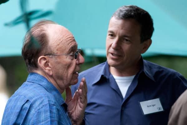 Rupert Murdoch, left, and Disney's Robert Iger at the annual Allen & Co.'s media summit in Sun Valley, Idaho.