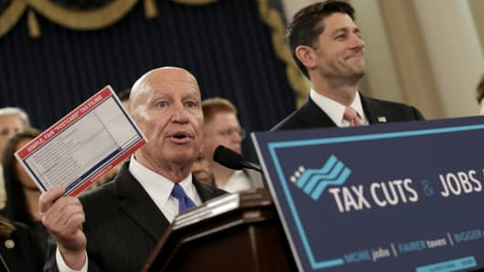 House Ways and Means Chairman Kevin Brady, R-Texas, left, and Speaker Paul Ryan, R-Wisc., joined by members of the House Republican leadership, introduce tax reform legislation Nov. 2, 2017, in Washington, D.C.