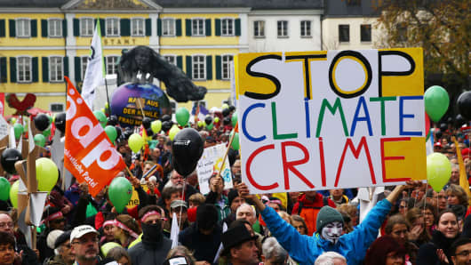 Protesters march ahead of the COP23 UN Climate Change Conference held in Bonn, Germany, on November 4, 2017.