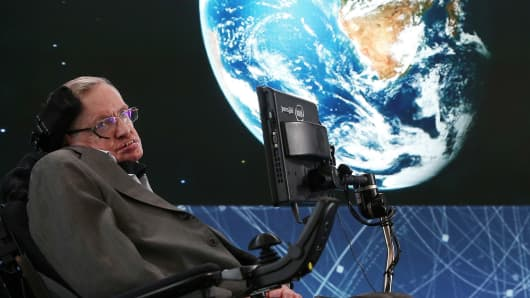 Stephen Hawking in 2016 in New York City.