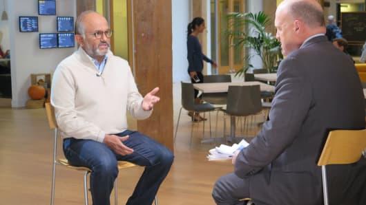 Shantanu Narayen, CEO of Adobe being interviewed by Jim Cramer
