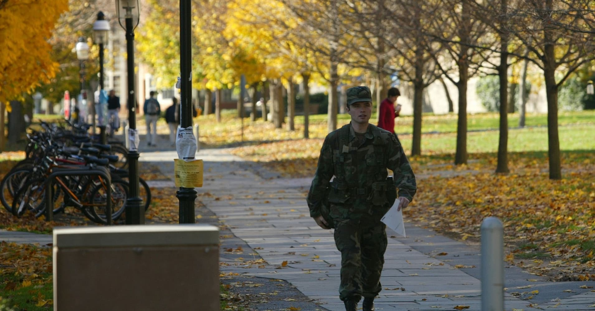 A Reserve Officer Training Corps (ROTC) cadet walks through campus in Princeton, New Jersey.