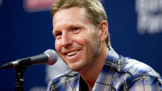 Former Major League pitcher Roy Halladay talks to the media prior to a game in August, 2014.