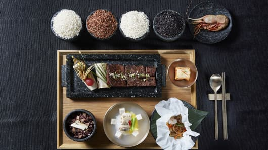 One of the dishes on South Korea's state dinner for President Donald Trump: Pine mushroom rice in a stone pot, grilled Hanwoo (Korean beef) rib seasoned with a special sauce made with 360-year-old soy sauce.