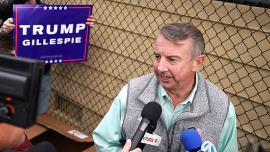 Republican candidate for Virginia governor Ed Gillespie talks to journalists after casting his vote at the polling place at Washington Mill Elementary School November 7, 2017 in Alexandria, Virginia.