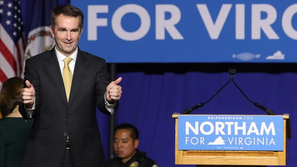 Virginia Gov.-elect Ralph Northam greets supporters at an election night rally November 7, 2017 in Fairfax, Virginia.