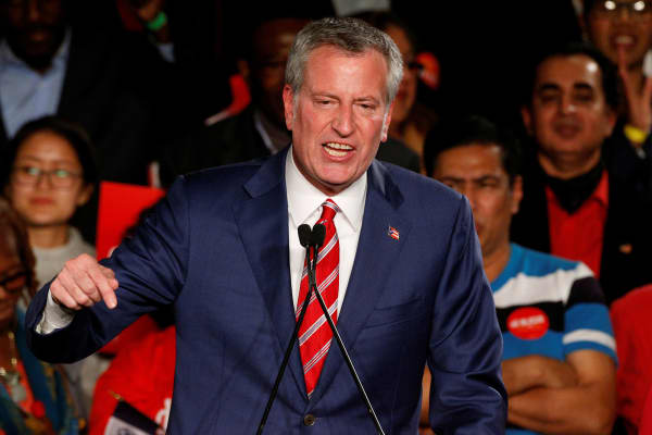 New York Mayor Bill de Blasio addresses supporters after his re-election in New York City, U.S. November 7, 2017.