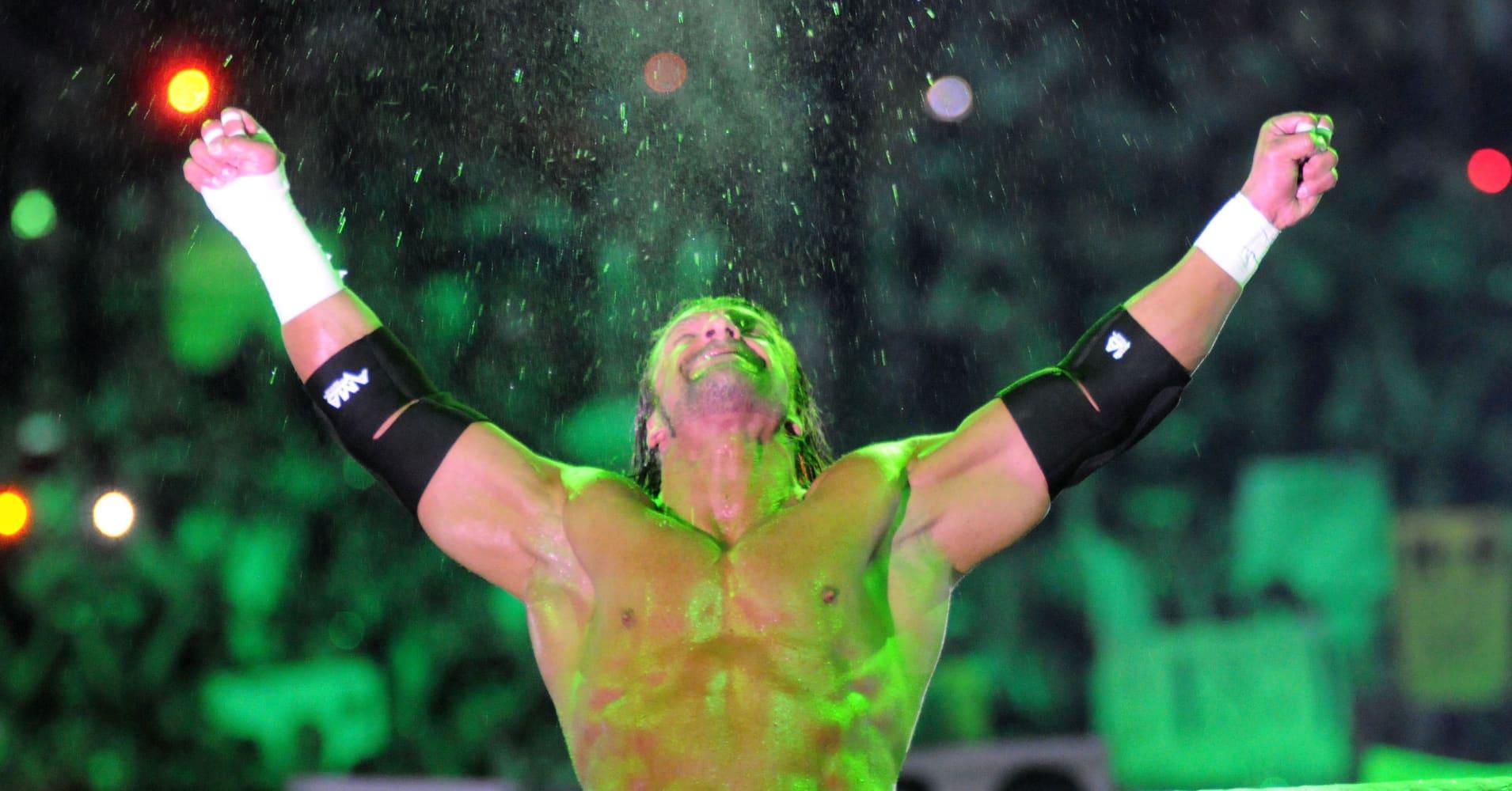 Wrestler Triple H performs for WrestleMania XXVII at Georgia Dome on April 3, 2011 in Atlanta, Georgia.