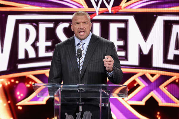 Professional wrestler Triple H attends the WrestleMania 30 press conference at the Hard Rock Cafe New York on April 1, 2014