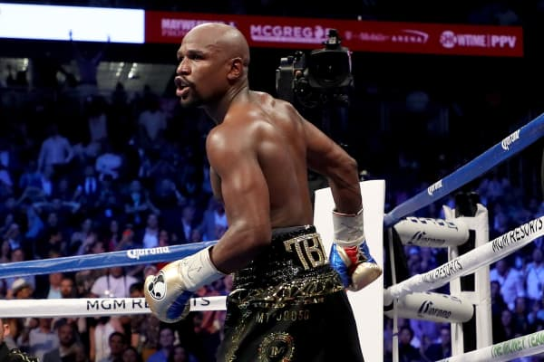 Referee Robert Byrd stops the fight in round 10 with a TKO of Conor McGregor by Floyd Mayweather Jr. in their super welterweight boxing match on August 26, 2017 at T-Mobile Arena in Las Vegas, Nevada.