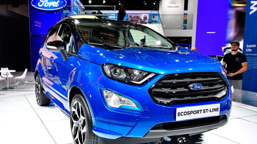 A Ford Ecosport St-Line car is presented at the Frankfurt Auto Show IAA in Frankfurt am Main, Germany.