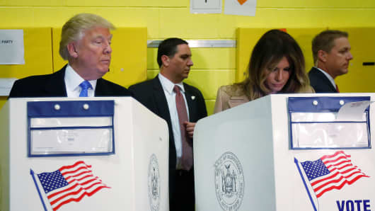 Donald Trump and his wife Melania Trump vote at PS 59 in New York on Nov. 8th, 2016.