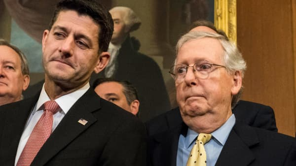 Speaker of House Paul Ryan and Senate Majority Leader Mitch McConnell announce the Republican tax reform initiative accompanied by members of the Senate Finance Committee and House Ways and Means Committee on Capitol Hill in Washington DC Wednesday September 27, 2017.