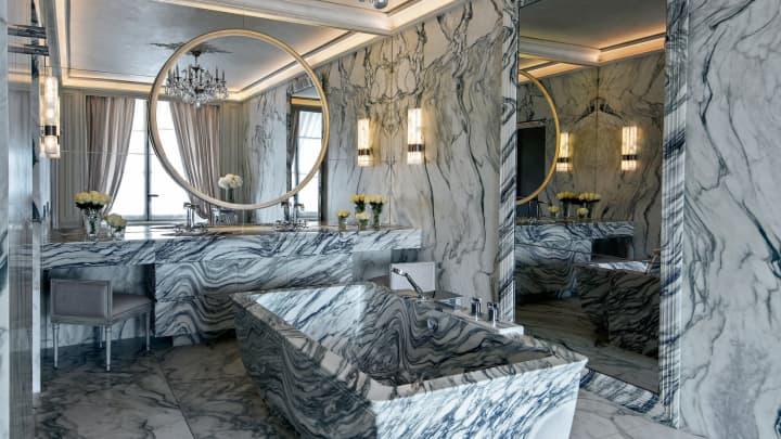 Two-ton Carrara marble bathtub in the Hotel de Crillon