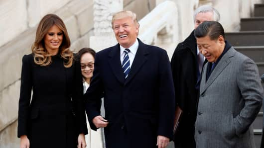 President Donald Trump and U.S. first lady Melania visit the Forbidden City with China's President Xi Jinping in Beijing, China, November 8, 2017.